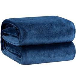 Flannel Fleece Blanket Blue Navy Throw Lightweight Cozy Plus