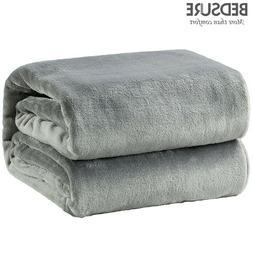 Bedsure Flannel Fleece Blanket Coral Throw Luxury Travel Fla