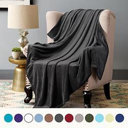 Bedsure Fleece Blanket Queen Size Dark Grey Lightweight Bed