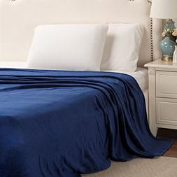 Bedsure Flannel Fleece Luxury Blanket Navy King Size Lightwe