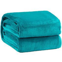 Bedsure Flannel Fleece Luxury Blanket Peacock Blue Twin Size