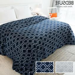 Bedsure Flannel Fleece Blanket Printed Lattice Scroll Blanke