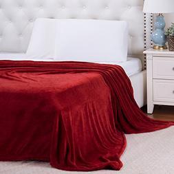 Bedsure Flannel Fleece Luxury Blanket Burgundy King Size Lig