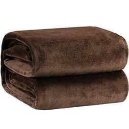 Bedsure Flannel Fleece Luxury Blanket Brown Throw Lightweigh