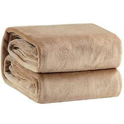 Bedsure Flannel Fleece Luxury Blanket Camel Throw Lightweigh