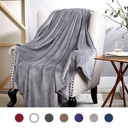 Bedsure Flannel Fleece Luxury Blanket Grey Throw Lightweight