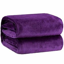 Bedsure Flannel Fleece Luxury Blanket Purple Throw Lightweig