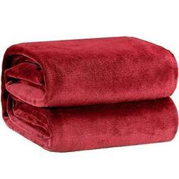 Bedsure Flannel Fleece Luxury Blanket Red Throw Lightweight
