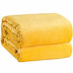 Bedsure Flannel Fleece Luxury Blanket Yellow |Yellow)