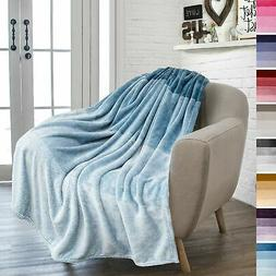 PAVILIA Flannel Fleece Ombre Throw Blanket for Couch   Super