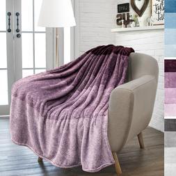 PAVILIA Flannel Fleece Purple Throw Blanket   Soft Cozy Warm