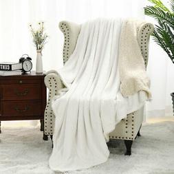Flannel Fleece Reversible Throw Blanket Extra Soft Brush Fab