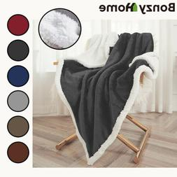 Flannel Fleece Sherpa Blanket Twin Queen Throw Thickened Sof