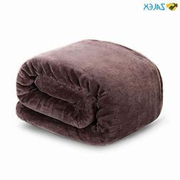 HYSEAS Flannel Fleece Throw Blanket Chocolate - Super Soft P
