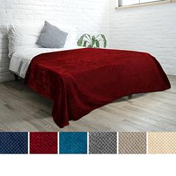 PAVILIA Premium Flannel Fleece Wine Red Bed Throw Blanket Fo