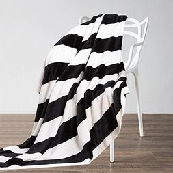 NTBAY Flannel Twin Blankets Super Soft with Black and White