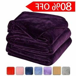 LBRO2M Fleece Bed Blanket Super Soft Warm Fuzzy Velvet Plush