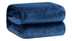 Bedsure Fleece Blanket Throw Size Navy Lightweight Super Sof