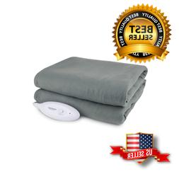 Fleece Heated Electric Throw Blanket Full Size Bed Home Warm