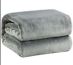 Fleece Luxury Bedsure Flannel Size Lightweight Blanket Gray
