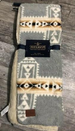 "Pendleton Fleece Sherpa Aztec Southwest Throw Blanket 50""x 7"