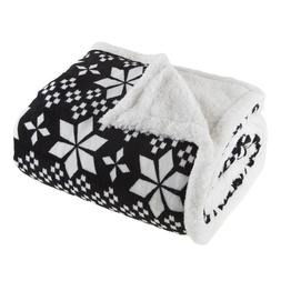 Lavish Home Fleece Sherpa Black and White Snowflake Throw Bl