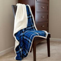 Lavish Home Fleece Sherpa Blanket Throw - Blue Plaid 50 x 60