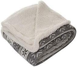 Lavish Home Fleece Sherpa Gray Snowflake Throw Blanket 50 x
