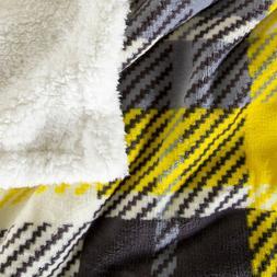 Lavish Home Fleece Sherpa Gray Yellow Plaid Throw Blanket 50