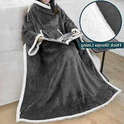 Fleece Snuggie Blanket with Sleeves and Front Pocket Robe We