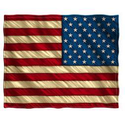 "Fleece Throw Blanket 50"" x 60"" American Flag USA Patriotic O"