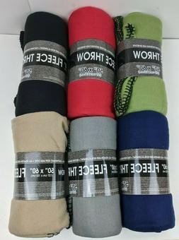 Fleece Throw Blanket 50 x 60 Soft Cozy 6 Colors Non-Allergen