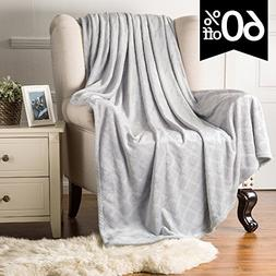 Fleece Throw Blanket Platinum color Embossed Plaid Pattern 6