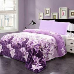 Floral Printed Micro Plush Blanket Flannel Fleece Blanket Be