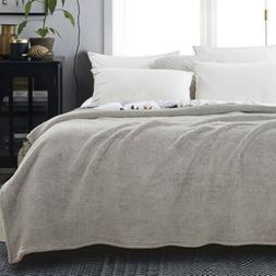 Fluffy Sherpa Fleece Throw Ultra Soft Warm Fuzzy Blanket Sol
