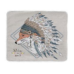 ALAZA Fox Warrior Blanket Luxury Throw Personalized Stylish