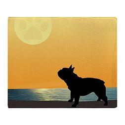 CafePress French Bulldog Surfside Sunset Soft Fleece Throw B