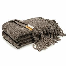 Fringe Knitted Throw Blanket Striped Fluffy Chenille Blanket