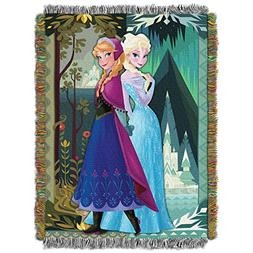 """Frozen, Two Worlds One Heart Woven Tapestry Throw, 48"""" x 60"""""""