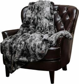 Chanasya Fuzzy Faux Fur Throw Blanket -  Gray