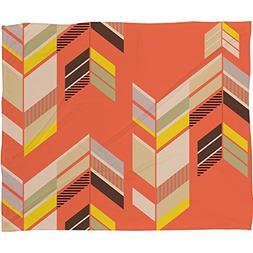 Deny Designs Gabi, Chevron Coral, Fleece Throw Blanket, Smal