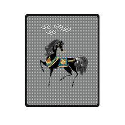 Generic Horse Is Dancing Custom Supersoft Throw Fleece Blank