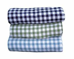 Maine Woolens Gingham Check 100% Cotton Fine Bed Blanket Thr