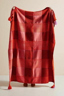 Anthropologie Gingham Pacey Throw Blanket Medium Pink *NEW