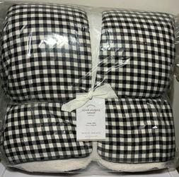 Pottery Barn Gingham Sherpa Cotton Throw Blanket, Full/Queen