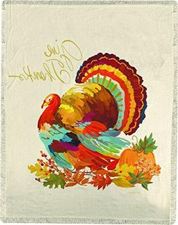 Manual Give Thanks Turkey Thanksgiving Harvest Woven Throw B