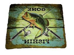 AES Gone Fishin Fishing Bass Fish 50x60 Polar Fleece Blanket
