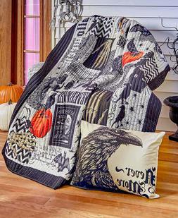 Gothic Nevermore Halloween Throw Pillow Quilted Throw Blanke