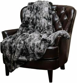 Gray Faux Fur Throw Blanket Super Soft Luxurious Fluffy Hypo