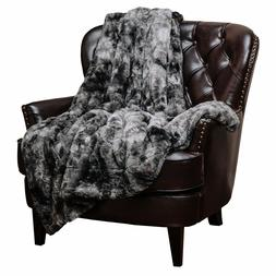Gray Faux Fur Throw Blanket Super Soft Luxurious Fluffy Hypo
